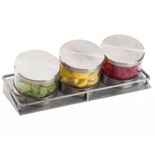 Cal-Mil 1850-4-55 Mixology Jar Display with Stainless Steel Lids