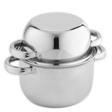 """American Metalcraft SSMS9 S/S 9"""" Round Mussel Server with Cover"""