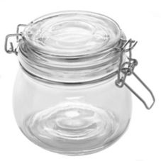 American Metalcraft HMJ4 Glass Hinged 16 Oz. Apothecary Jar