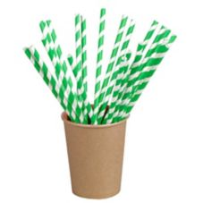"PackNWood 210CHP21EMB Green Striped 8.3"" Paper Straws - 6000 / CS"