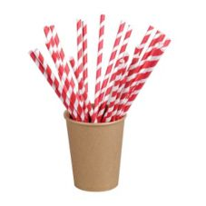 "PackNWood 210CHP21EMBR Red Striped 8.3"" Paper Straws - 6000 / CS"