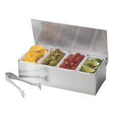 TableCraft H1604 S/S 4 Compartment Bar Caddy Set with Tongs