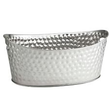 TableCraft BT2013 Bali Hammered S/S Oval Ice Tub / Beverage Display