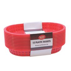 "Tablecraft C1076R Red 10.5 x 7"" Chicago Oval Basket- 12 / PK"