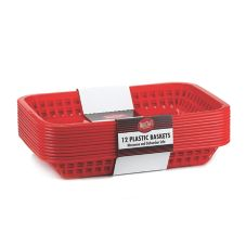 Tablecraft C1077R Red Rect. Grande Cash & Carry Basket- 12 / PK
