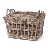 Willow Specialties 81293.1.3 KooBoo Grey Rattan Storage Baskets - Set