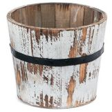 "Willow Specialties 83313.8WHT Round 9"" Wood Planter"