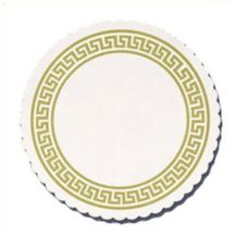 "Hoffmaster 876074 Round 3-3/8"" Gold Greek Key Coaster - 2500 / CS"