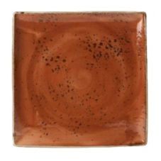"Steelite 11330553 Craft Terracotta 10-1/2"" Square One Plate - 6 / CS"
