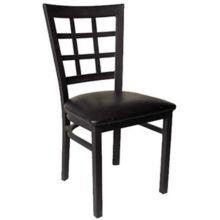 MKLD Commercial Furniture M890 Window Back Chair w/ Black Metal Frame