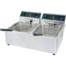 Restaurant Series S/S Electric Double Pot 30 Pound Countertop Fryer