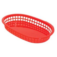 Update International BB107R Red Oval Fast Food Basket - Dozen