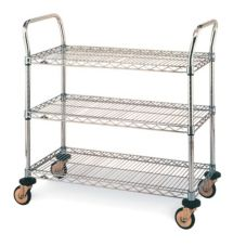 "Metro® MW703 Chrome 18 x 30"" MW700 Series Std. Duty Utility Cart"