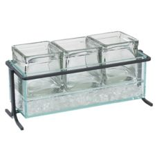 Cal-Mil 1806-5-13 Black Steel Frame Condiment Display w/ 3 Glass Cubes