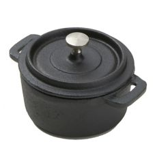 "American Metalcraft CIPR42 Cast Iron 4"" Round Casserole with Lid"