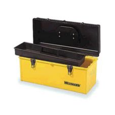 Westward Plastic Tool Box w/ Tray, Yellow, 20 x 8-1/2 x 8-3/4