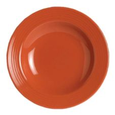 Steelite B075P312 Coral Red 8 Oz. Rim Soup Plate / Bowl - 24 / CS