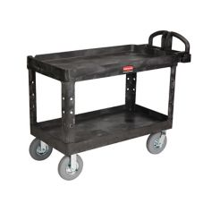 Rubbermaid FG454610BLA Black 2-Shelf Utility Cart w/ Pneumatic Casters