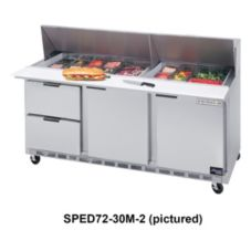 Beverage-Air SPED72-12M-6 Elite Refrigerated Mega Top with 6 Drawers