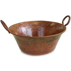 "Orion C40-R 18.5"" x 8.5"" Large Rustic Copper Cauldron"