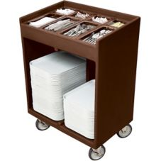 "Cambro TC1418131 Dark Brown 14"" x 18"" Tray & Silverware Cart"