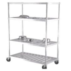 New Age Industrial PM2460 Aluminum Mobile 4-Tier Pot and Pan Rack