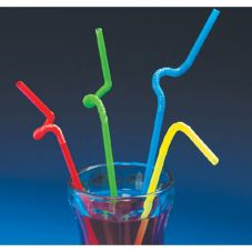 Fun Express Bright Colored Bendable Straws
