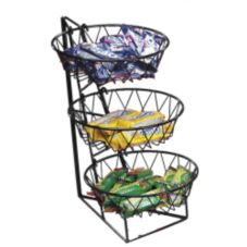 "Cal-Mil 1292-3 Black 3 Tier 12 x 22"" Display Rack w/ Round Basket"