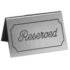 "Cal-Mil® 273-10 Silver / Black ""Reserved"" Message Tent"