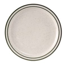 "Tuxton TES-006 Emerald 6.5"" Eggshell Plate With Green Bands - 36 / CS"