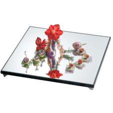 Bon Chef 51012 Square Glass Mirror Display Tray w/ Sandstone Border