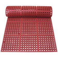 "Tomlinson 1035063 C-Kure 3' x 5'x 1/2"" Red Heavy Duty Greaseproof Mat"