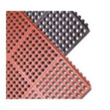 "Tomlinson 1035085 C-Kure 3' x 5' x 3/4"" Red HD Grease Resistant Mat"