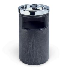 Rubbermaid® FG258600BLA Black Trash Can w/ Metal Ashtray and Liner