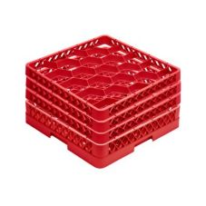 Traex® TR11GGG-02 Red 20 Compartment Glass Rack with 3 Extenders