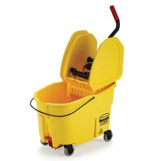 Rubbermaid FG757688YEL WaveBrake Yellow 44 Qt Down Press Wringer Combo