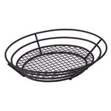 Black Powder Coated Oval Basket w/ Raised Bottom Grid, 8 x 13 x 2