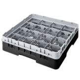 "Cambro 16S318110 Black 16 Comp. 3-5/8"" Glass Rack with Ext.- 5 / CS"