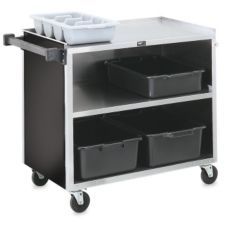 Vollrath® 97182 S/S Enclosed 3-Shelf Vinyl Finish Bussing Cart