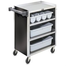 Vollrath® 97180 S/S Enclosed 4-Shelf Vinyl Finish Bussing Cart