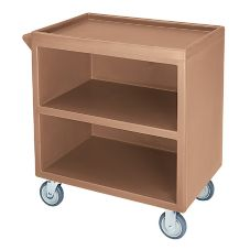Cambro Coffee Beige Closed Side 3-Shelf Service Cart
