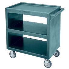 "Cambro Slate Blue Open Side 3-Shelf Service Cart w/ 5"" Casters"