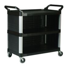Rubbermaid FG409300BLA Xtra™ Black 3-Side Enclosed Utility Cart