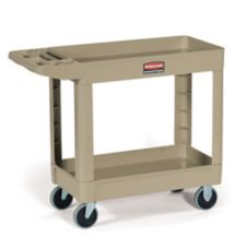 "Rubbermaid Beige 2-Shelf Utility Cart, 39"" x 18"""