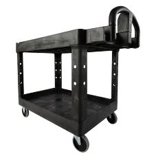 "Rubbermaid Black 2-Shelf Utility Cart, 45"" x 26"""