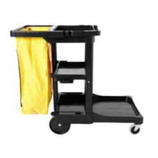 Rubbermaid Black Cleaning Cart w/ 20 Gal Yellow Zippered Vinyl Bag