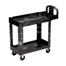 "Rubbermaid Black 2-Shelf Utility Cart, 39"" x 18"""