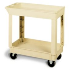 "Continental Beige 2-Shelf 34"" Utility Cart"