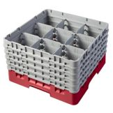 Cambro 9S958163 Red 9 Comp Full Glass Rack with 5 Extenders - 2 / CS
