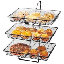 Cal-Mil 1291-3 Black 3 Tier Wire Basket Rack with 3 Baskets